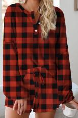 Вязаный пижамный комплект в красный плед