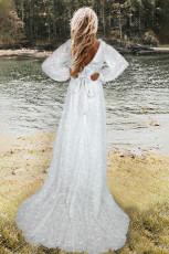 آستین سفید اسقفی لباس شب عروسی توری دوزی شده
