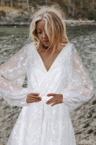الأبيض المطران الأكمام الدانتيل مطرز فستان الزفاف مساء