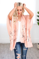 Pink Spring Daisy Woven Kimono