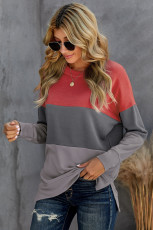 Colorblock Grey Contrast Stitching Sweatshirt with Slits