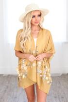 Žluté jarní sedmikráska tkané kimono