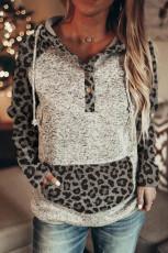 Color Block Leopard Langærmet grå hættetrøje