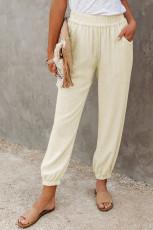 Брюки-джоггеры на эластичном поясе цвета хаки из льна с карманами