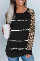 Sort leopard ærme Tie-dye stribe print top
