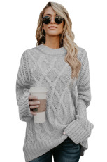 Gray Oversize Thick Pullover Sweater