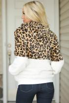 Mantel Zip Up Sherpa White Leopard Color Block