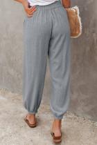 Grå linned lomme elastisk taljejoggers