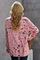 Roze top met ronde hals en scrawl-print, lange mouwen en split