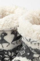 Grey Christmas Reindeer Snowflake Print Indoor Warm Non-slip Plush Boot