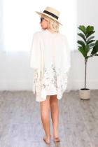 White Spring Daisy Woven Kimono