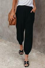 Черные льняные джоггеры с карманами на эластичном поясе