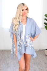 Sky Blue Spring Daisy Woven Kimono