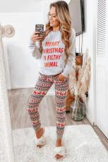 Grå reintrykk julepyjamasett