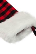 Dekorasi Pohon Natal Sock Print Kotak-kotak Merah