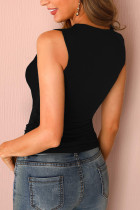 Black Brief Detail Detched Multi-Strap Casual Tank Top