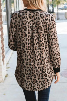 Sort Leopard Splicing Langærmet Top