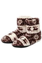Brown Christmas Reindeer Snowflake Print Indoor Warm Non-slip Plush Boot