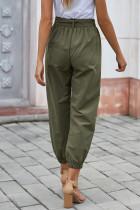 Zelené jednobarevné frockové kalhoty s opaskem