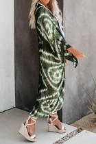Grøn flagermus ærme mode slipsfarve print cardigan