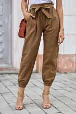 Khaki jednobarevné frockové kalhoty s opaskem