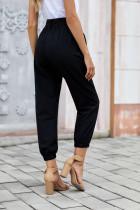 Černé jednobarevné frockové kalhoty s opaskem