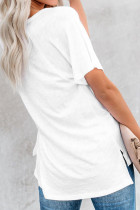 White V Neck Short Sleeves Cotton Blend Tee with Front Pocket and Side Slits