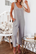 Gray Pocketed Thermal Sleeveless Jumpsuit