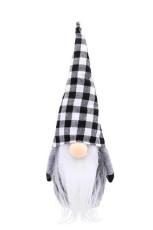 White Christmas Plaid Faceless Gnome Santa Xmas Ornament