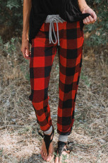 Christmas Red Buffalo Plaid Pocketed Drawstring Joggers