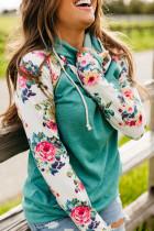 Floral Raglan ærme Kangaroo Pocket Hoodie