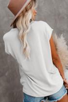 Beige lomme-T-shirt med sideslidser