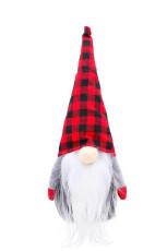 Red Christmas Plaid Faceless Gnome Santa Xmas Ornament