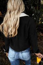 Black Snaps Pocketed Fleece Corduroy Jacket