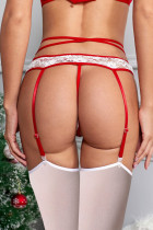 3stk Rød Plush Bow Garter Belt Set