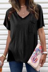 Черная футболка из смесового хлопка с V-образным вырезом, короткими рукавами, передним карманом и боковыми разрезами