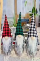 Grønn jul Plaid Ansiktsløs Gnome Santa Xmas Ornament