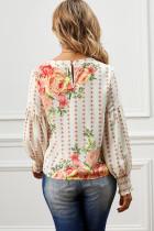 Абрикосовая блузка с круглым вырезом и цветочным принтом с воздушными рукавами