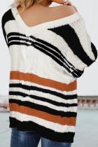Плетеный плетеный свитер с V-образным вырезом в коричневую полоску с цветными блоками Bubblegum