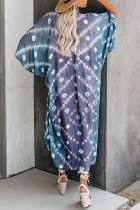 Himmelblå flagermus med ærmemode Tie-dye Print Cardigan