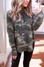 Green Camouflage Round Hemline Sweatshirt