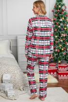 Rød skjortekrage, rutete knapp ned julepyjamasett