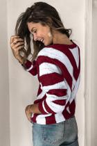 Sweater Rajutan Leher V Colorblock Bergaris Merah
