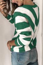 Pletený svetr se zeleným proužkem Colorblock ve výstřihu do V