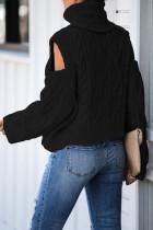 Musta turtleneck Cold Shoulder -värinen villapaita