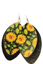 Layered Sequin Sunflower korvakorut