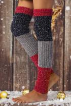 Lumihiutaleen värilohko polven neulotut jalkojen lämmittimet