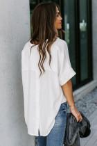Белая однотонная рубашка на пуговицах с коротким рукавом