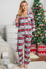 Baju Merah Kerah Kotak-kotak Kancing Bawah Set Piyama Natal