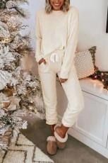 Ribbet tekstur Pyjamasett med lommer